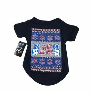 Holiday Christmas Ugly Sweater T Shirt Dog Pet L